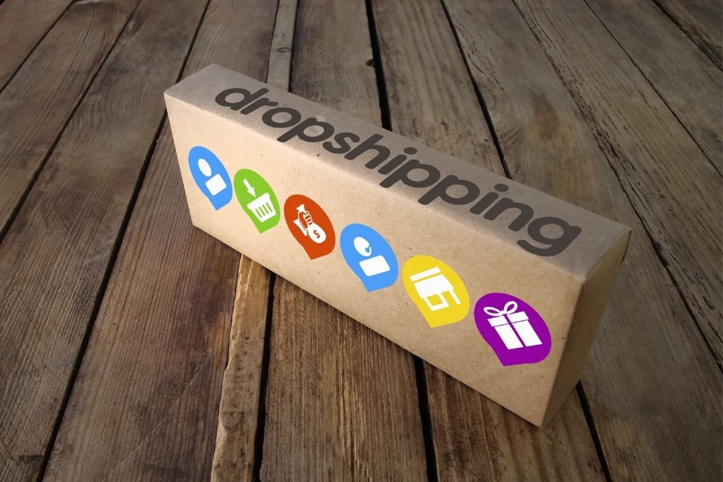 A dropshipping package from Amazon sits on a wood doorstep.