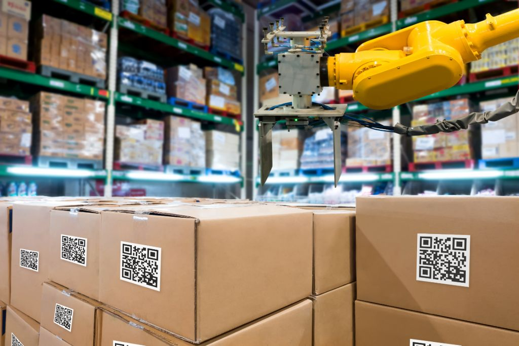 Dropshipping supply chain warehouse with cardboard boxes and QR codes